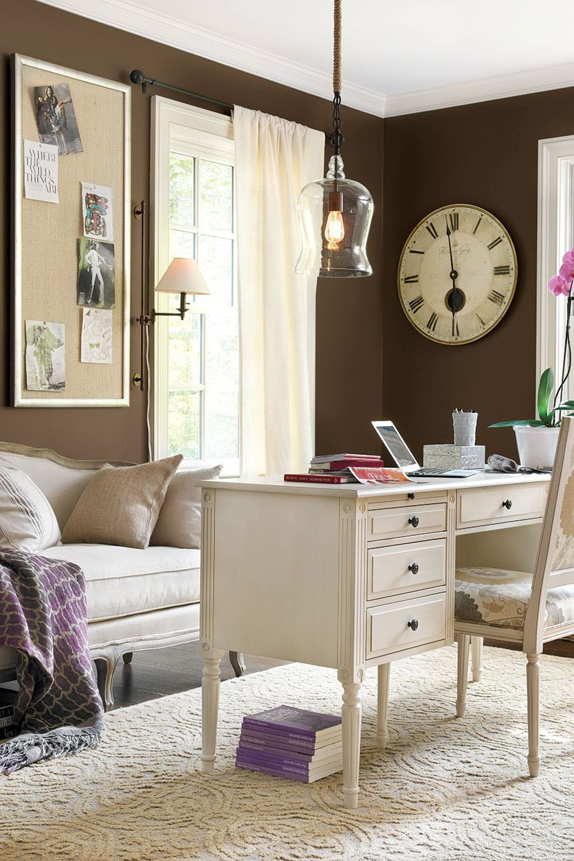 Home Office With Dark Brown Walls And Light Furniture Brown