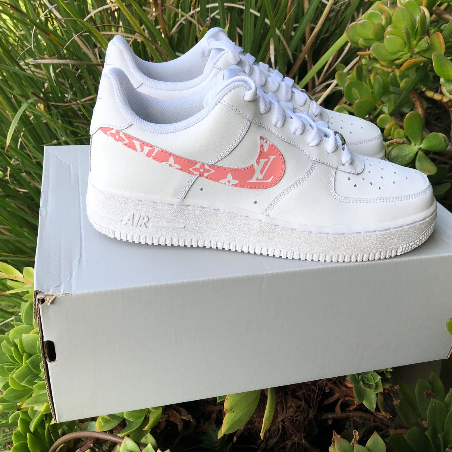 "Image of Air Force 1 ""Pink Louis Vuitton"" Customs Louis"