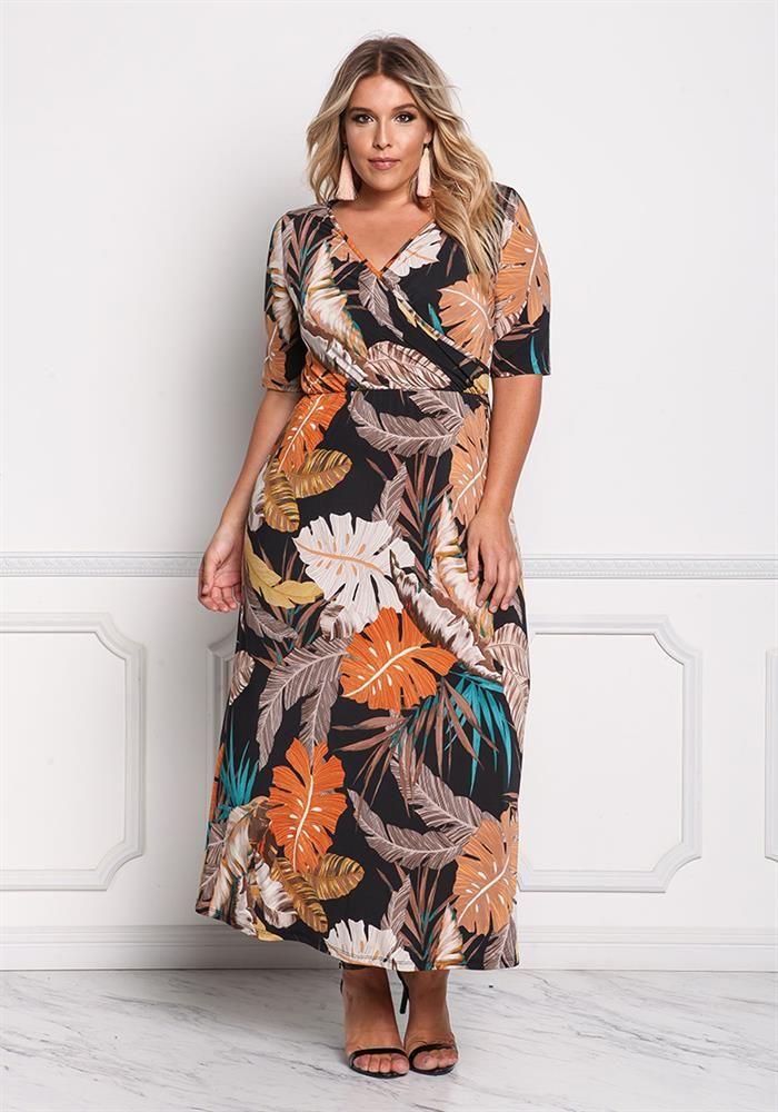 Plus Size Clothing | Plus Size Feather Faux Wrap Maxi Dress ...