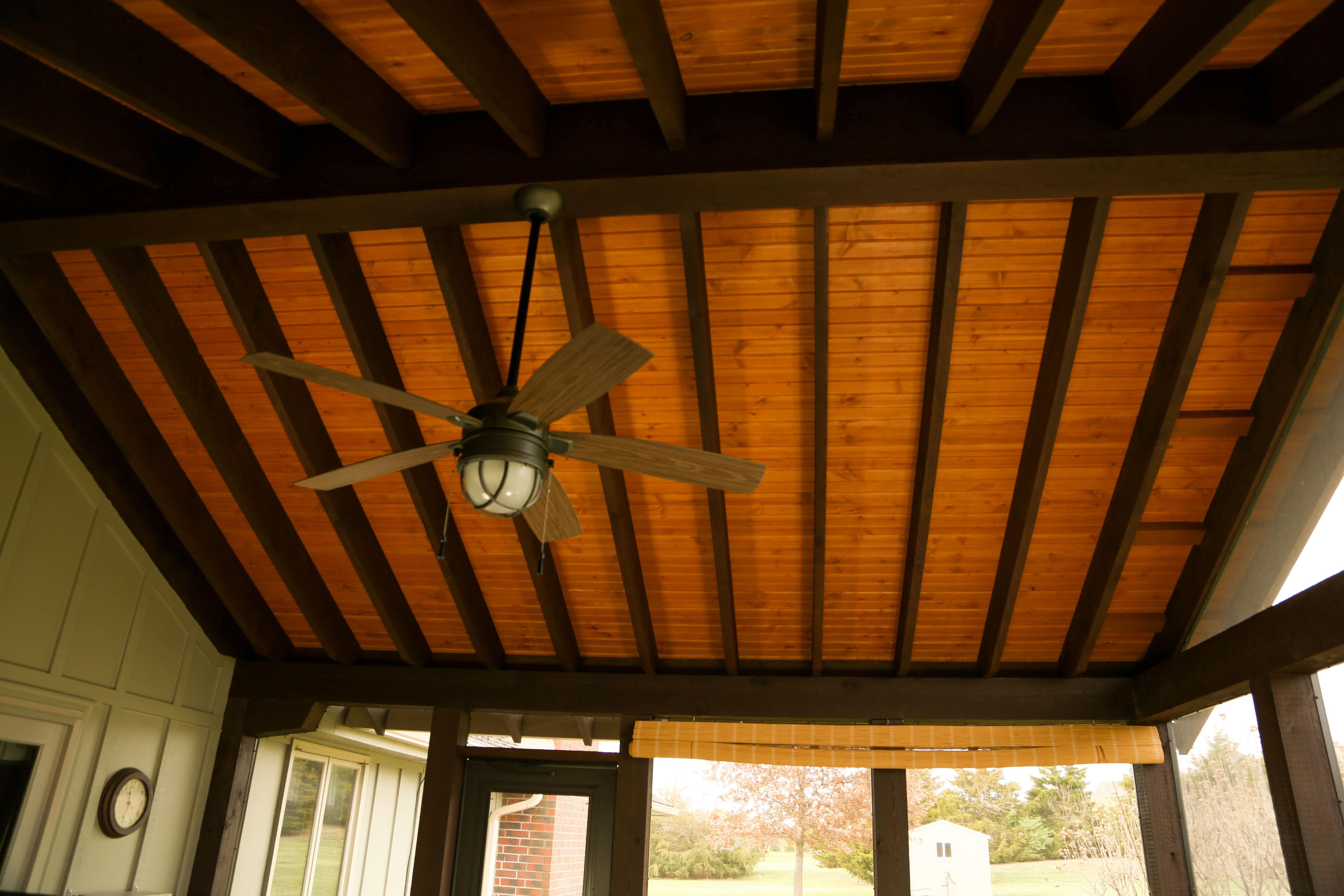 Cedar Screened In Porch Stained Car Siding Ceiling