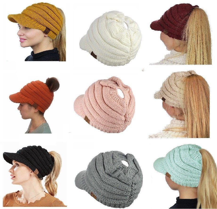 1f4779ebd34 Hats 45230  Cc Women Winter Fall Knit Bun Ponytail Skully Warm Toboggan  Beanie Brim Hat Cap -  BUY IT NOW ONLY   14.5 on  eBay  women  winter   ponytail ...