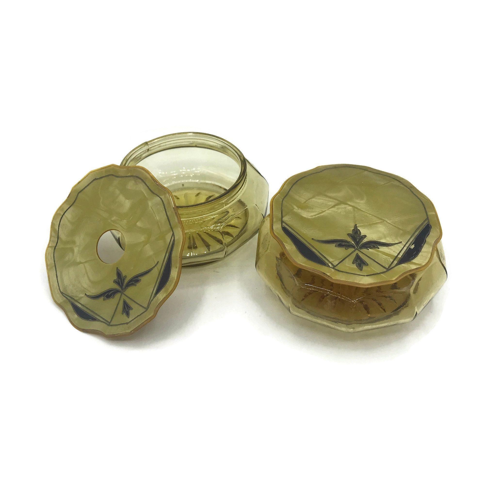 Antique Crystal Art Nouveau Hair Receiver Jar with Brass Top