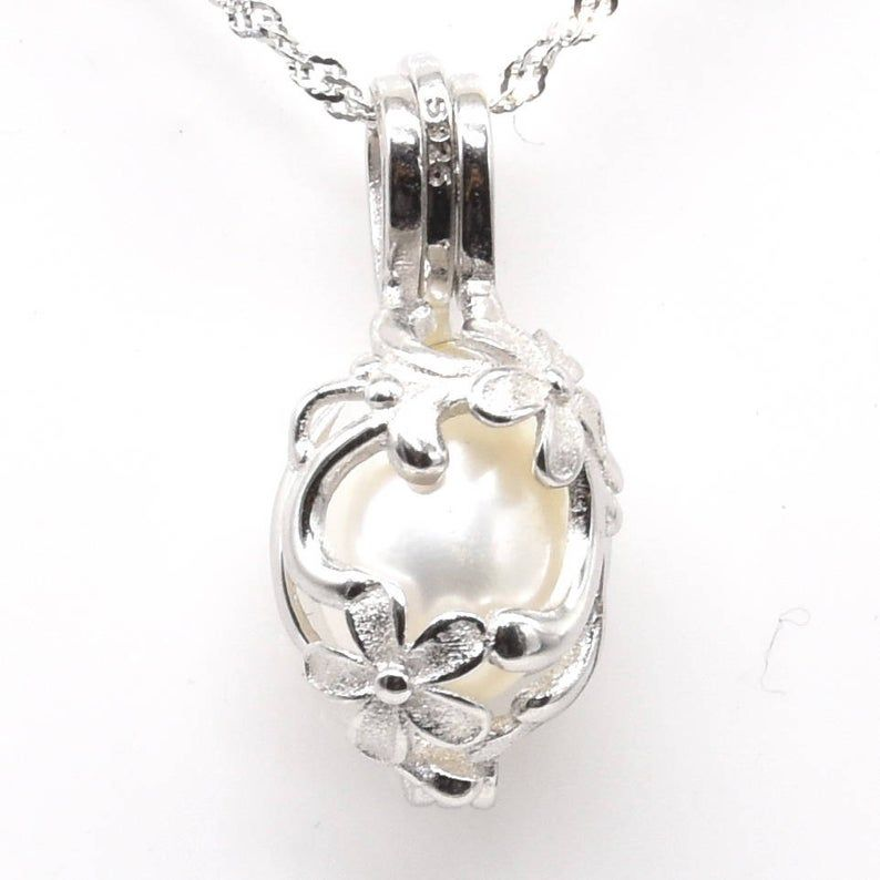 Caged White Pearl Pendant Necklace Sterling Silver Chain