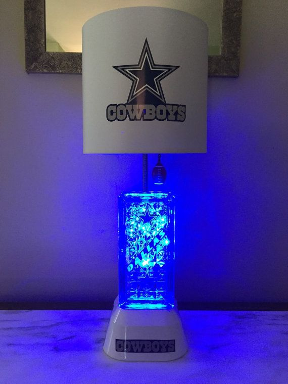 Total Height Of Lamp 21 Inches Lampshade Is 10 X 8 With A 7 Inch Slope There Is Blue Lights Inside B Dallas Cowboys Decor Dallas Cowboys Bedroom Dallas Cowboys