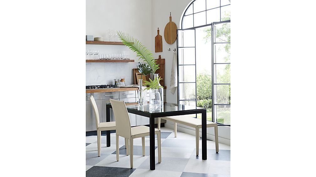 Clear Glass Top Natural Dark Steel Base 60x36 Parsons Dining