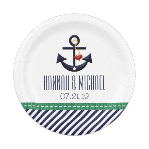 Greeny and Navy Blue Nautical Anchor Wedding Paper Plate  sc 1 st  Pinterest & Greeny and Navy Blue Nautical Anchor Wedding Paper Plate | Summer ...