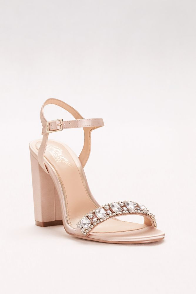88c268913 Block Heel Sandal with Embellished Strap - Champagne (Yellow), 12 Women's