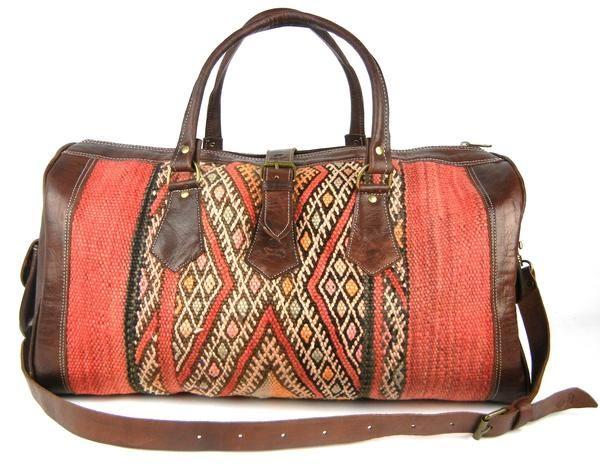 Kilim and Leather Duffle Bag Travel Bag 39120572ec3f9