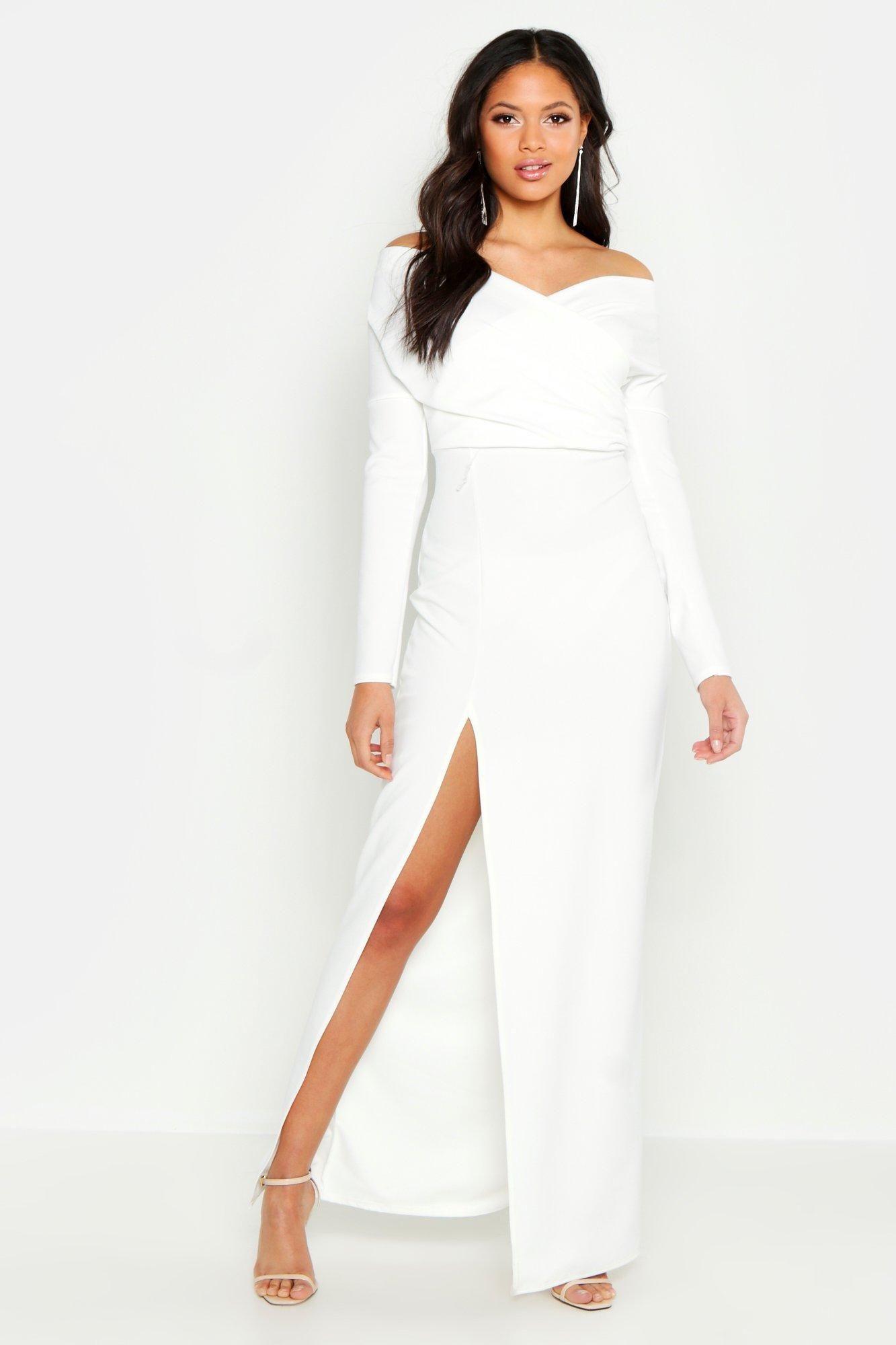 Tall Off The Shoulder Thigh Split Maxi Dress Boohoo Split Maxi Dress Dresses Maxi Dress [ 2000 x 1333 Pixel ]