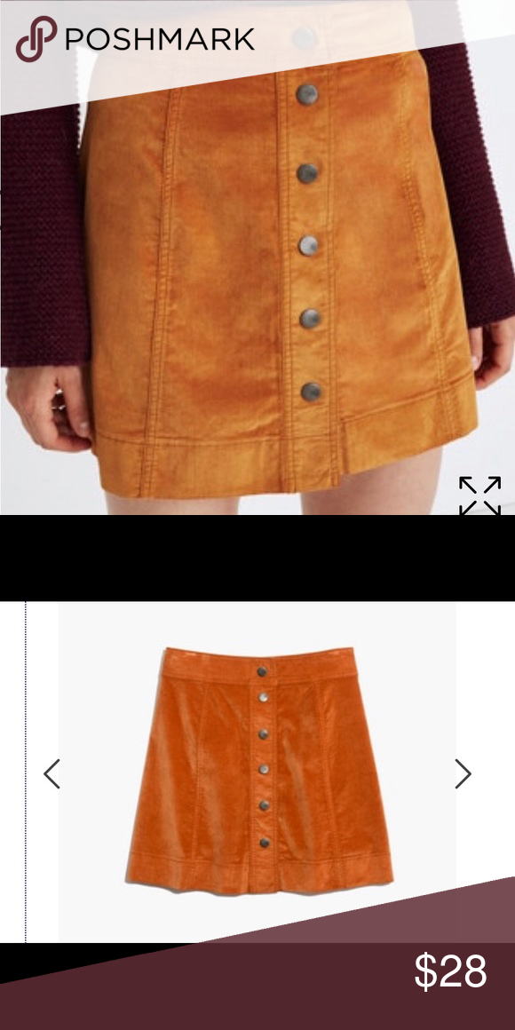 5a1acc72b7 Velvet Skirt Velvet button down skirt Madewell Skirts Mini | My Posh ...