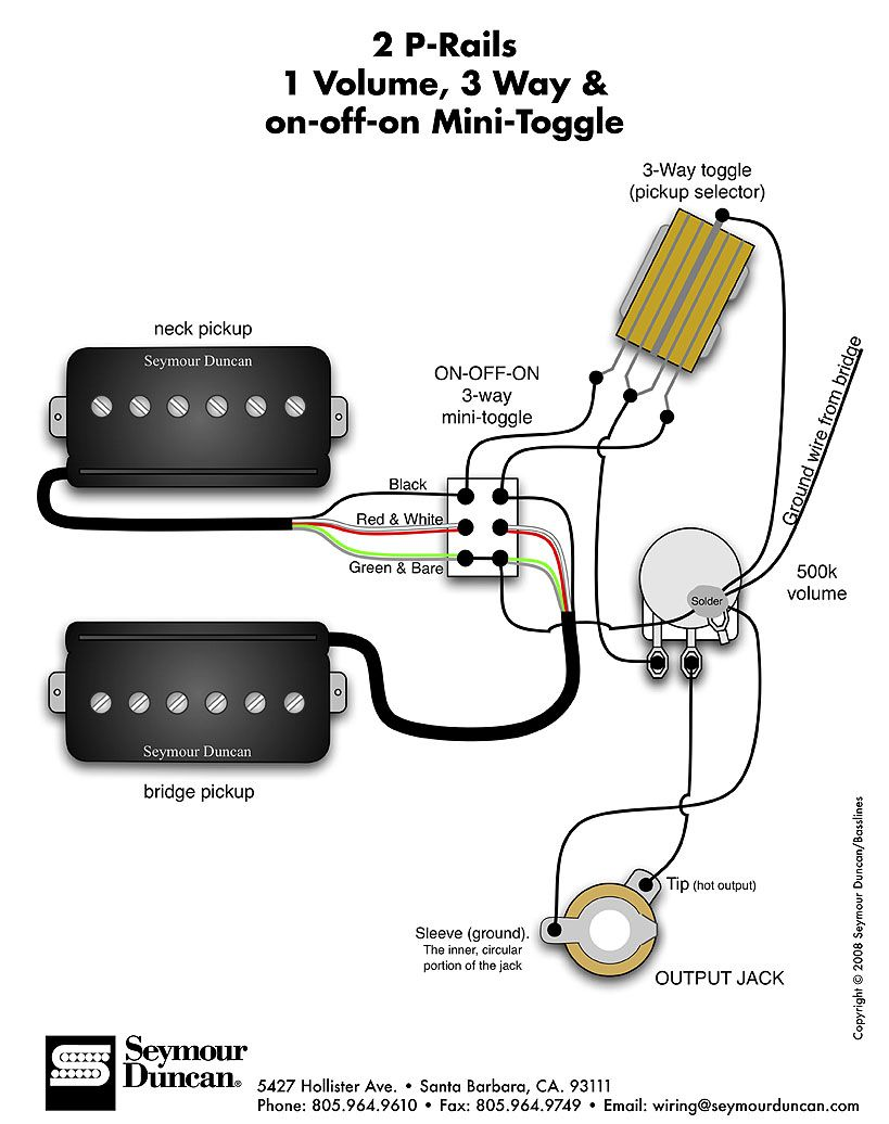 Seymour Duncan P Rails Wiring Diagram 2 P Rails 1 Vol 3 Way On Off On Mini Toggle Custom Guitars Guitar Pickups Guitar Building Guitar Diy