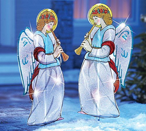 Outdoor Lighted Christmas Angels Garden Stakes- Pair Of 2 -   - outdoor angel christmas decorations