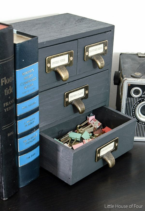 diy office storage. Industrial Office Storage From An Inexpensive, Unfinished Wood Box. Via Little House Of Four Diy -