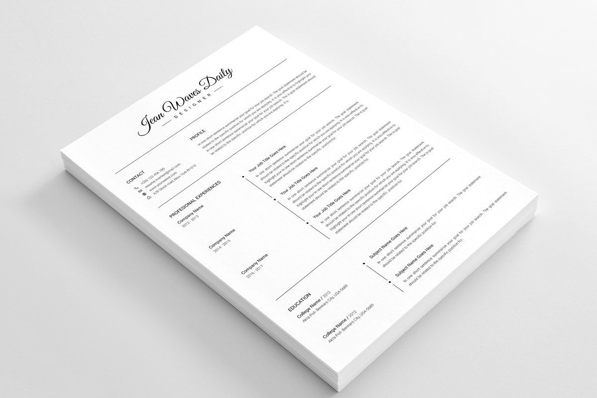 3 Pages Resume/CV Template in 2020 Cv template, Resume