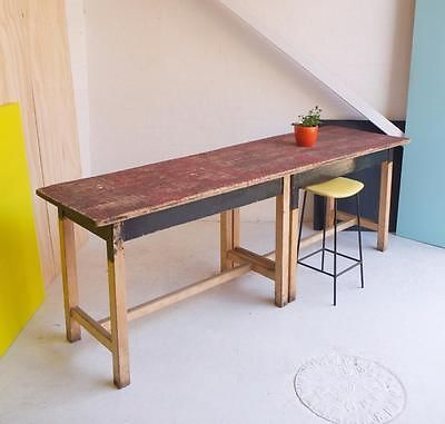 Awesome Long Slim Industrial Pine Serving Table / Kitchen Aisle / Bar