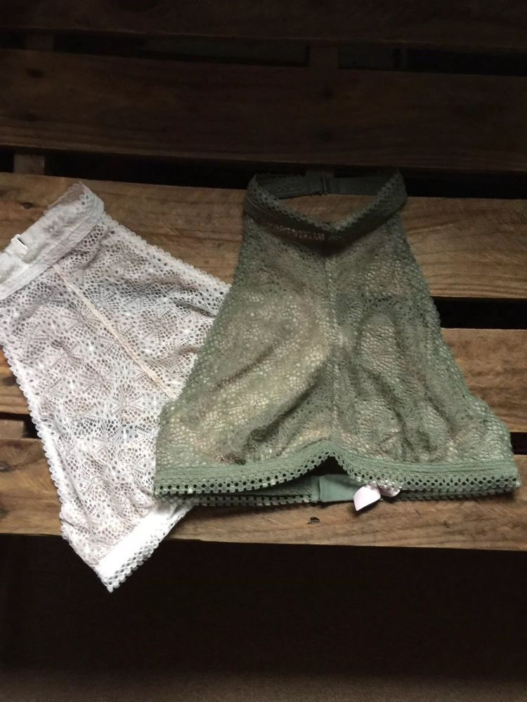 34ddaf8975 2 Victoria Secret Sexy High Neck Halter Lace Bralettes Small Olive Green  White  fashion  clothing  shoes  accessories  womensclothing   intimatessleep  ad ...
