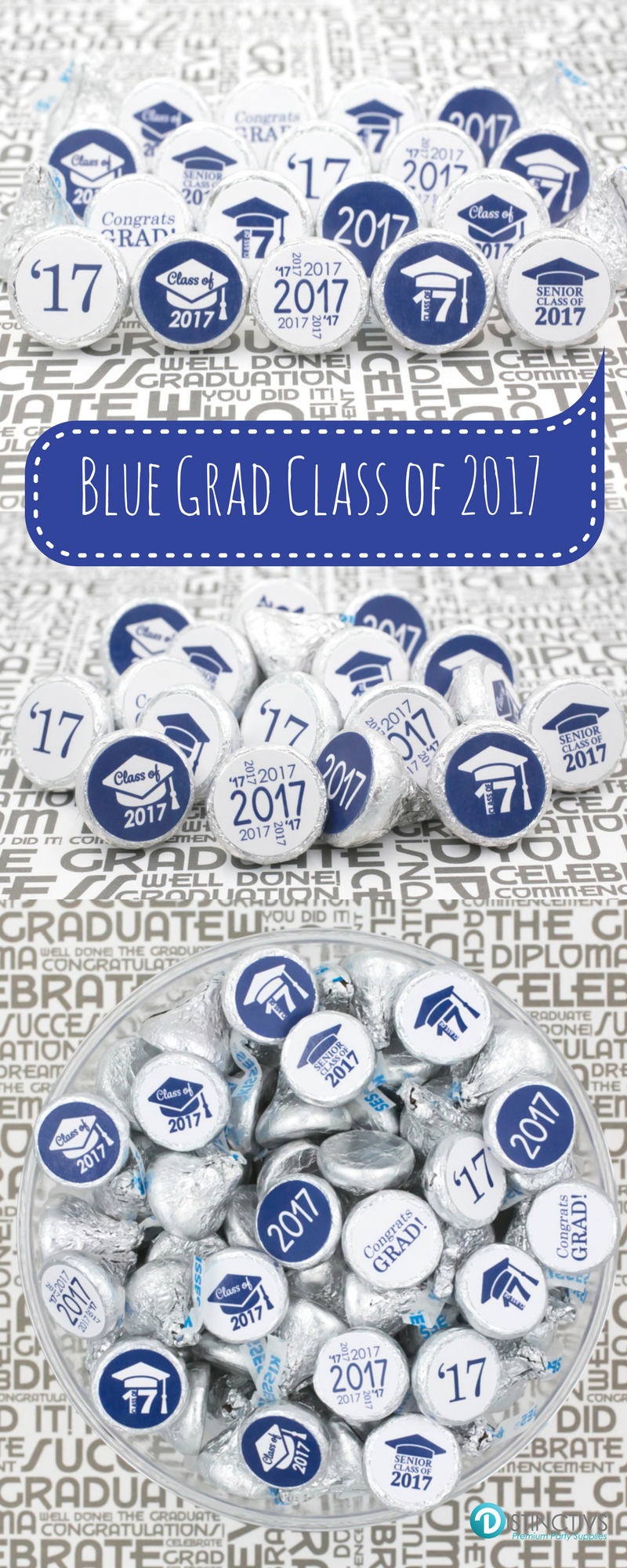 "Each sticker measures 0.75"" in diameter and fits on the bottom of hershey's kisses and many other miniature candies such as lifesaver mints, rolos, miniature peppermint patties and reese's peanut butter cup miniatures. Can also be used as graduation announcement, invitation and thank you card seals."