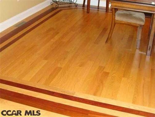 Brazilian Cherry Inlay For Red Oak Hardwood Floors In Dining Room Hardwood Floors Oak Hardwood Flooring Flooring
