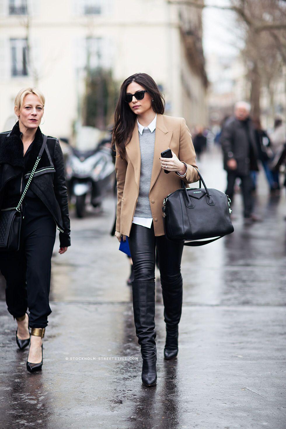 Leather skinny pants & camel blazer #StreetStyle