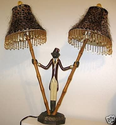 Vintage Bellhop Monkey Lamp Safari Look Beads Bamboo 46190497 Lamp Table Lamp Shades Novelty Lamp