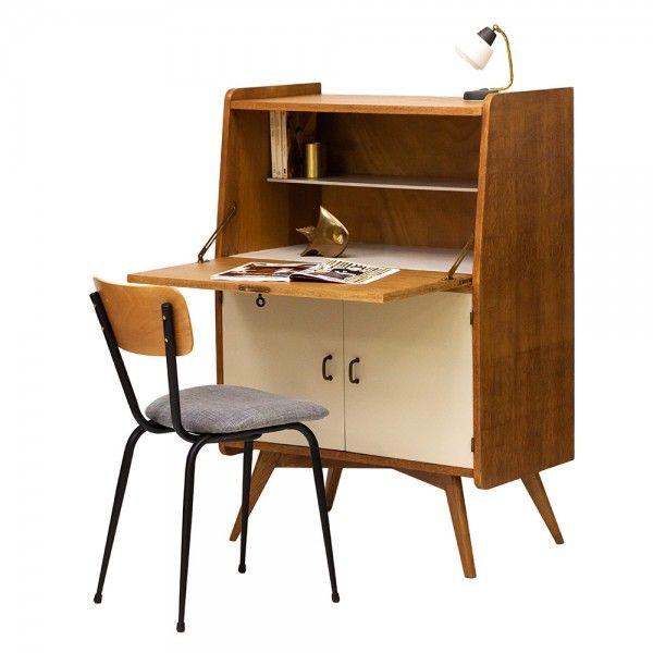 "50 Splendid Scandinavian Home Office And Workspace Designs: Secrétaire Vintage Années 50 ""Tabacco"""