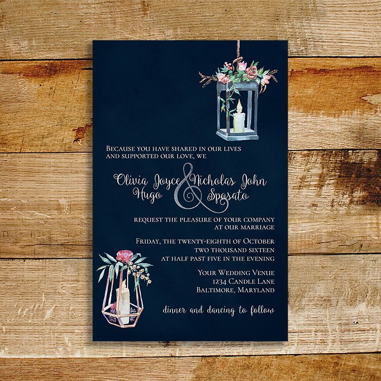 Vintage Navy Wedding Invitation