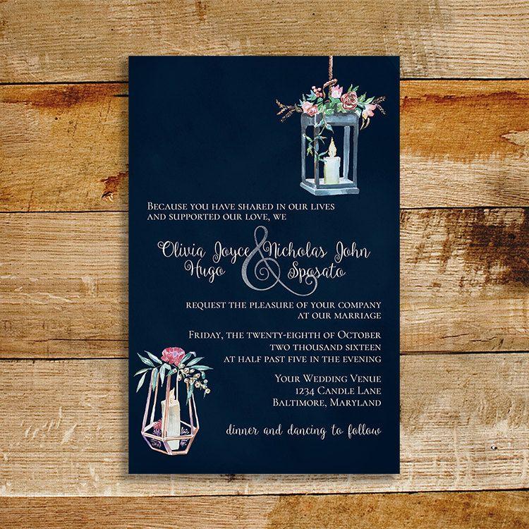 Candlelight Wedding Invitations: Vintage Navy Wedding Invitation