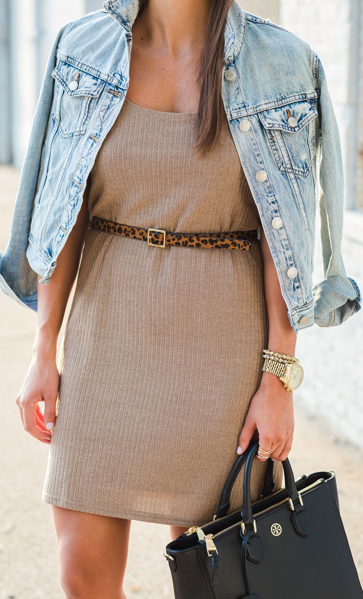 A Southern Drawl Denim On Neutral Belted Dress Fall Inspo
