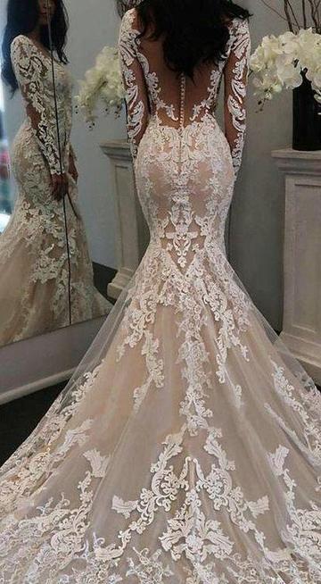 Mermaid Wedding Dress With Long Sleeves Fashion Custom Made Bridal Dre Lace Mermaid Wedding Dress Wedding Dresses Wedding Dresses Lace