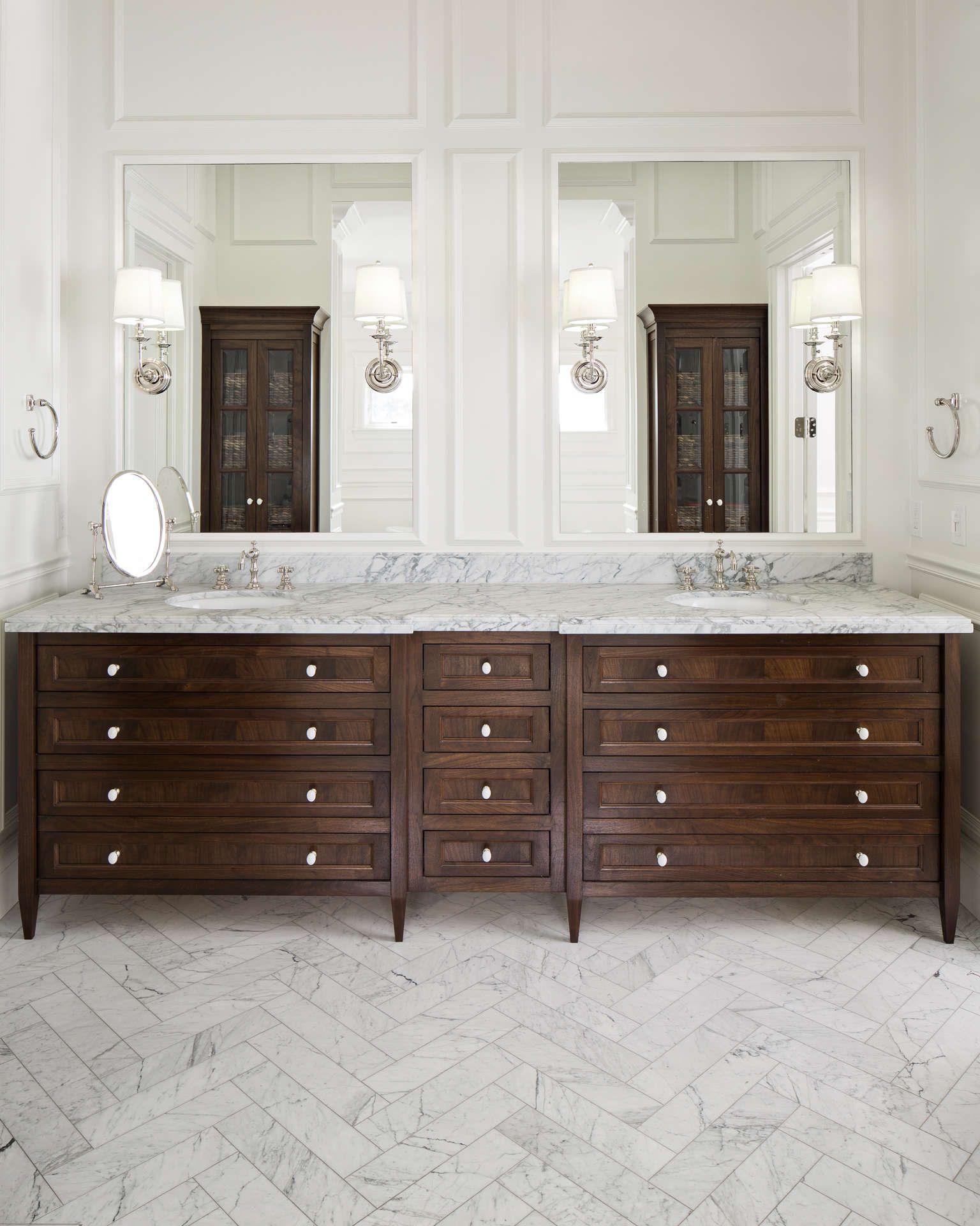 Classic Traditional Design Details To Inspire Dark Wood Bathroom Traditional Bathroom Herringbone Tile Floors [ 1920 x 1536 Pixel ]