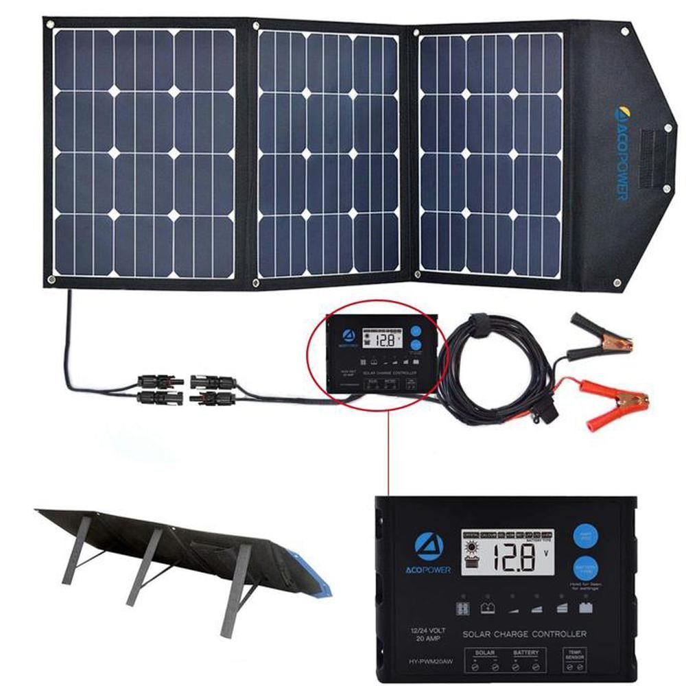 Acopower 120 Watt Foldable Suitcase Offgrid Solar Panel Kit With Proteusx 20 Amp Waterproof Lcd In 2020 Solar Panel Kits Solar Panels Solar Panel Charger