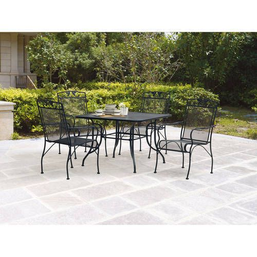 Waterproof Iron 5pc Patio Garden Dining Furniture Set Table Chairs
