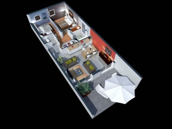 plan maison 3d d 39 appartement 2 pi ces en 60 exemples longueur et plans. Black Bedroom Furniture Sets. Home Design Ideas