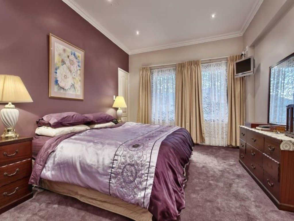 Purple accent wall grey and purple bedroom paint ideas one bedroom apartments n picture Master bedroom romantic paint colors
