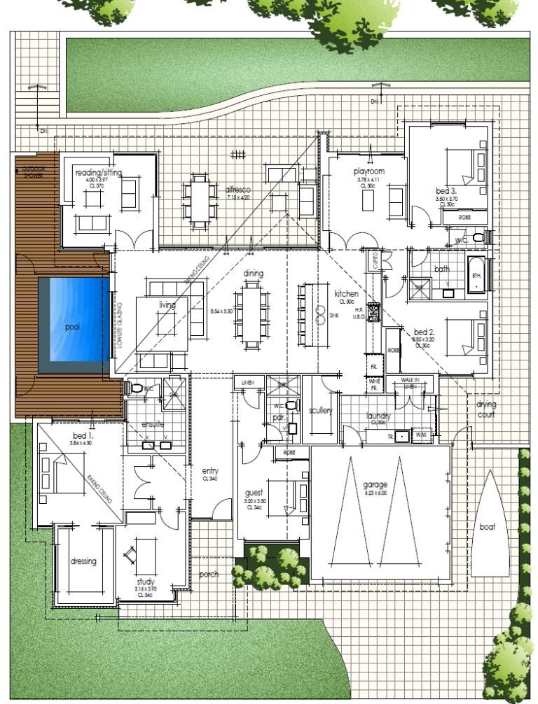 Big family home floor plan with amazing high ceilings raking towards – Big Family Home Floor Plans