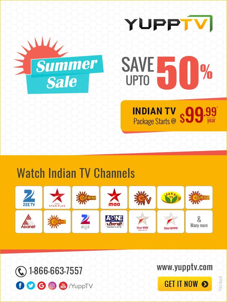 YuppTV Summer Sale - Save upto 50% off on Indian TV Channels