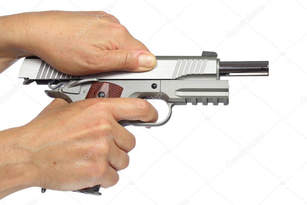 Hands Holding Breee Arming Handgun Isolated White Background Stock Phot Ad Arming Handgun Breee Hands Ad Hand Guns Guns Pose Hand Reference