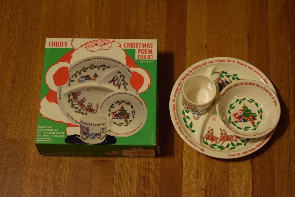 Rare Vintage Anacapa Melamine Child S Poem Dish Set Christmas Plate Cup Bowl New Christmas Plates Kids Poems Christmas Poems