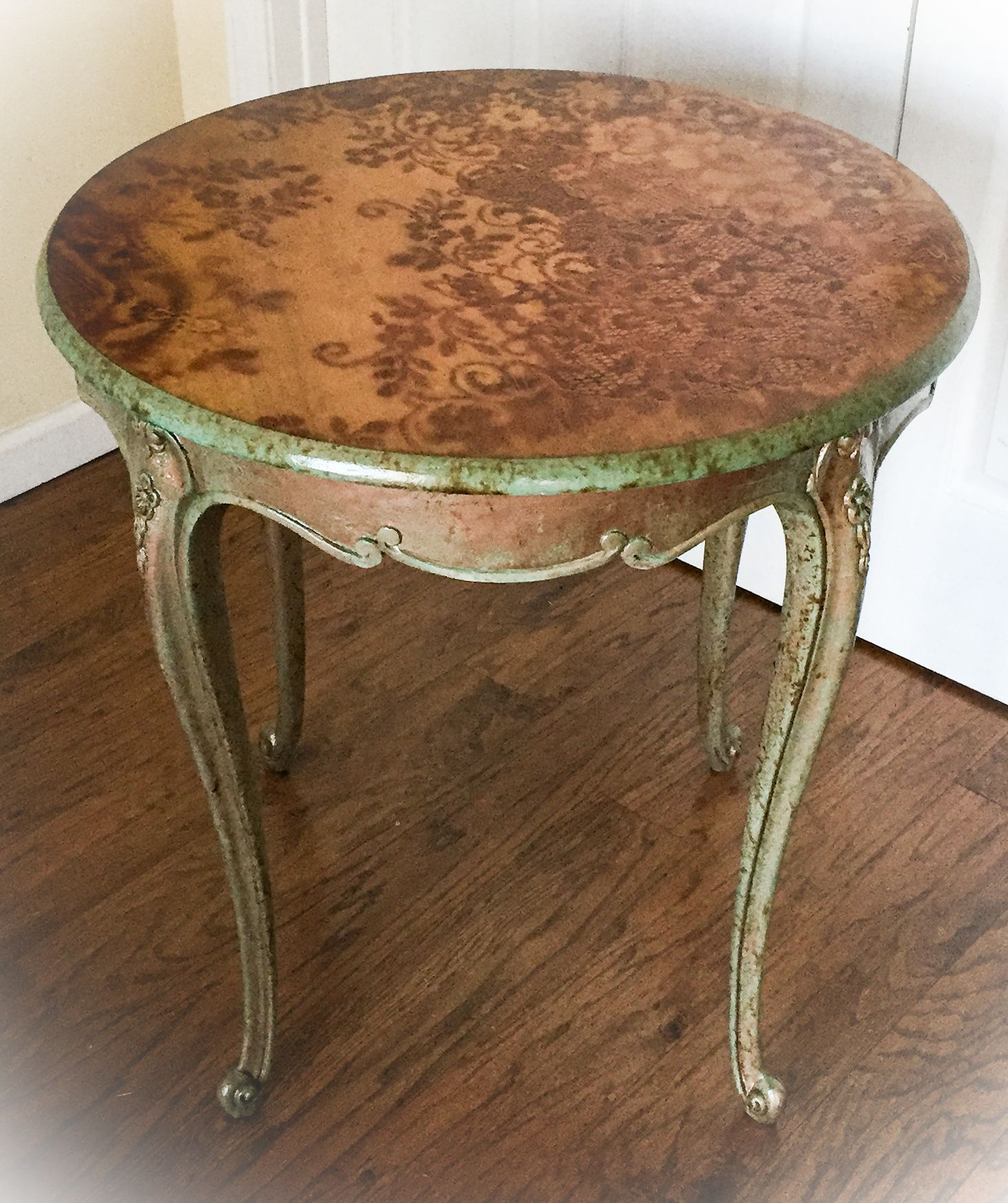 Incredible Antique Accent Table Copper Patina Stained Wood End Home Interior And Landscaping Palasignezvosmurscom