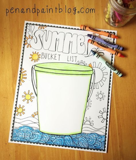 FREE Printable & Coloring Page - Summer Bucket List ...