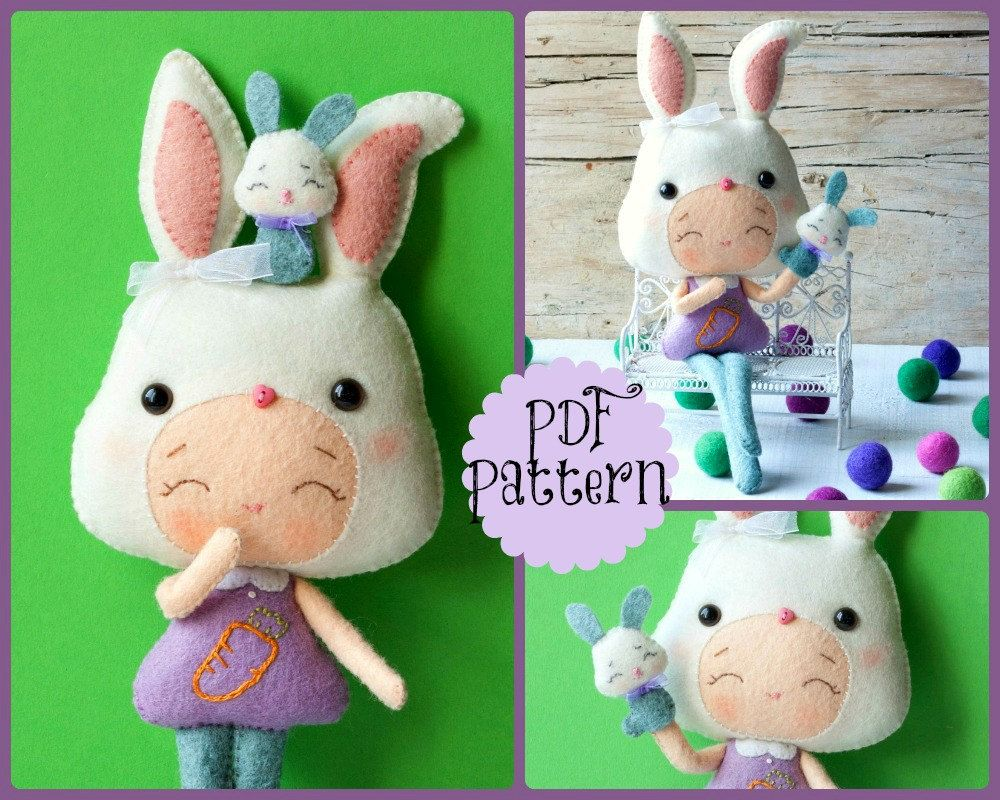 PDF. Bunny girl with puppet .Plush Doll Pattern, Softie Pattern ...
