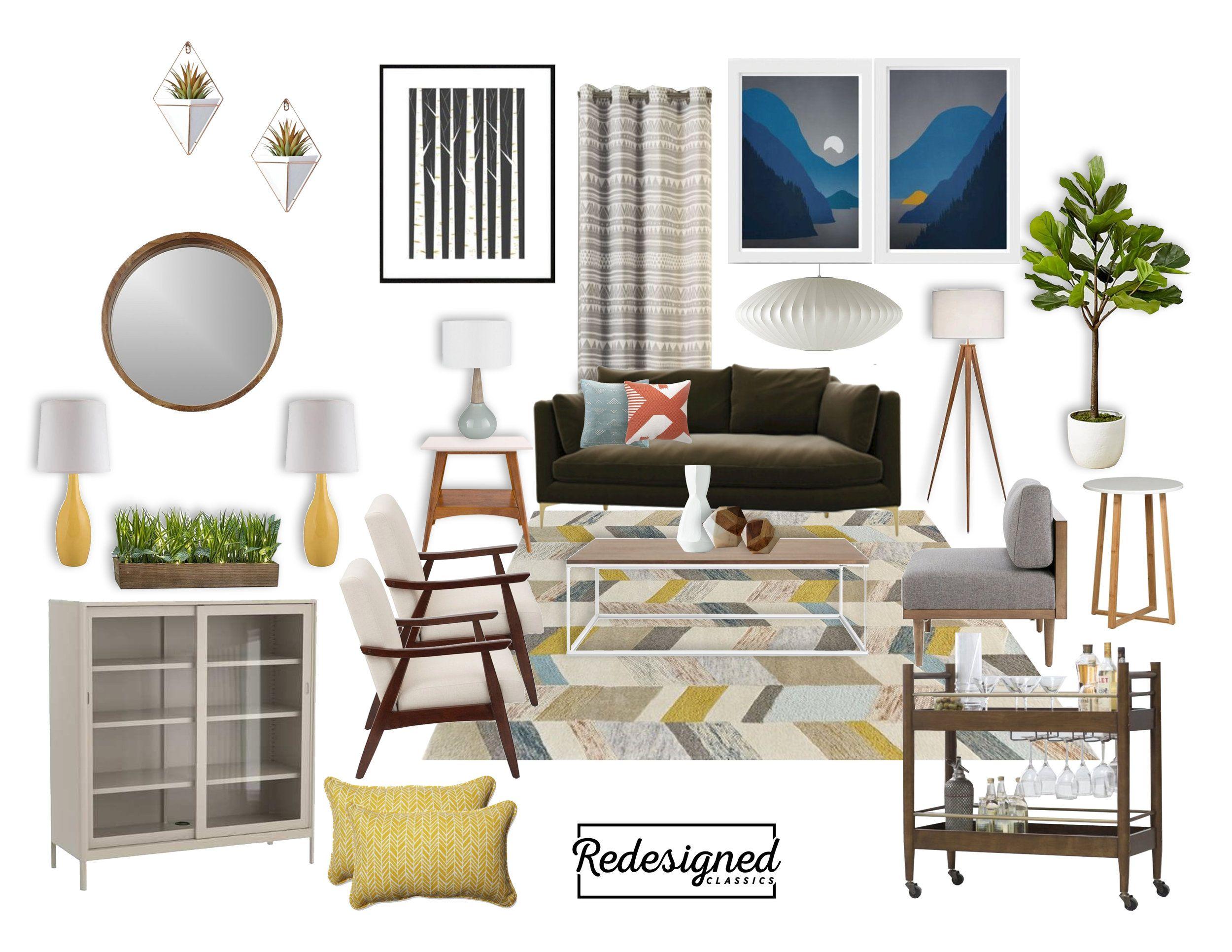 Mood Board Monday Mid Century Modern Scandinavian Influence Mid Century Living Room Mid Century Modern Living Room Mid Mod Furniture