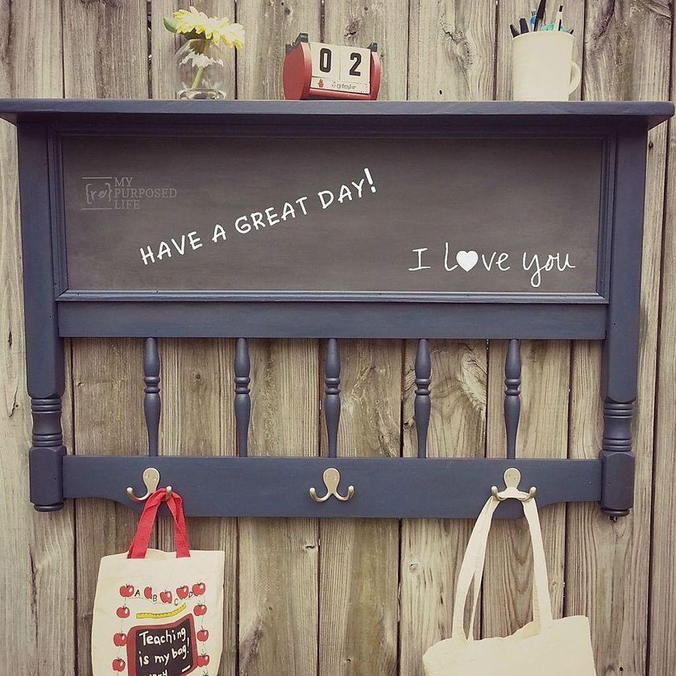 Repurposed headboard chalkboard coat rack shelf coat rack shelf