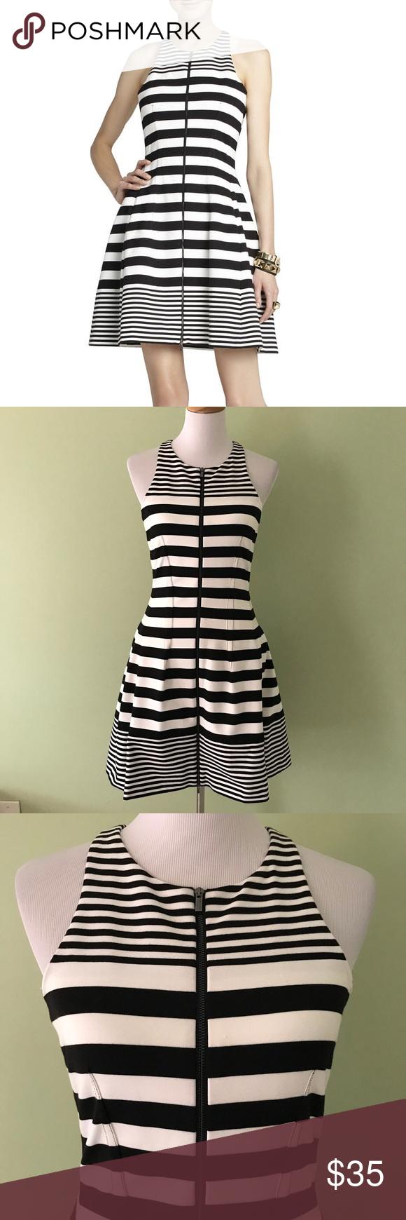 Bcbgmaxazria Black White Guilianna Tulip Dress Bcbg Maxazria Guilianna Tulip Dress Black White Striped Full Front Zip Tulip Dress Dresses Clothes Design [ 1740 x 580 Pixel ]
