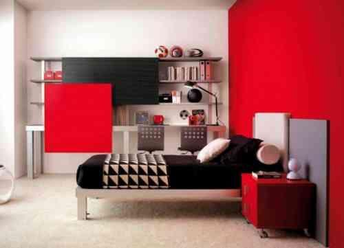 chambre ado en rouge et noir red