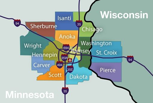 Regional Map13 Twin Cities Area Counties  notice how the metro