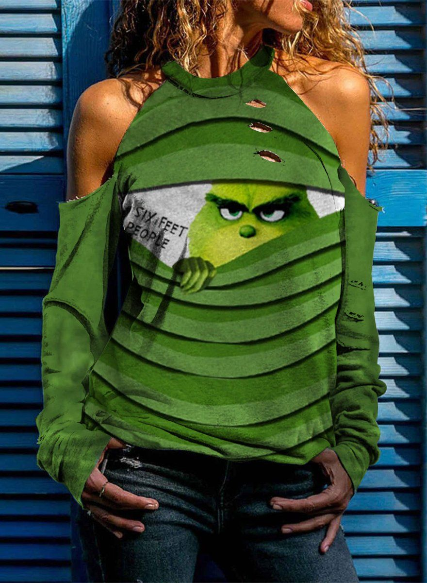 Women's Sweatshirts Out Cut Solid Crew Neck Festiv