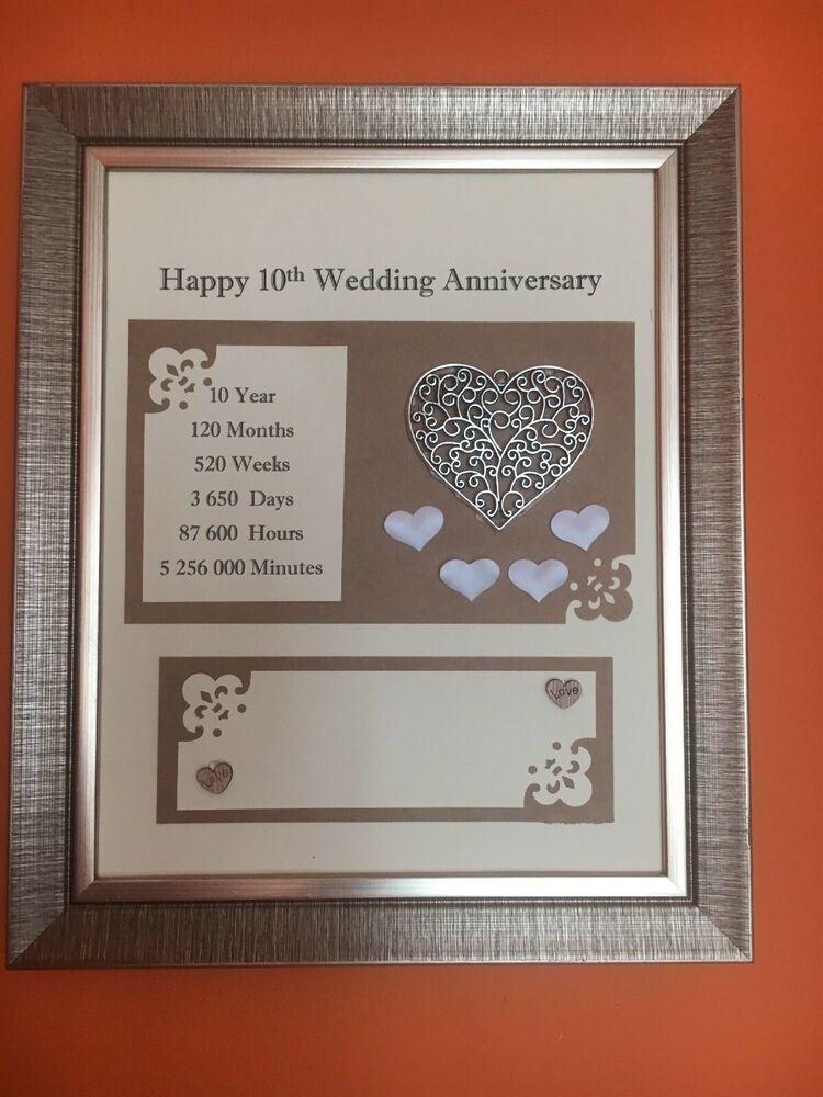 10th Aluminium Wedding Anniversary Frame Rustic Gift 3d Handmade Love 24x29cm Ebay Anniversary Frame Rustic Gift Wedding Anniversary