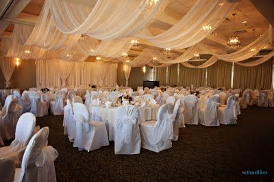 This is the actual banquet room we booked. I like the draping and the head table back drop but with the gathered drapes to be purple