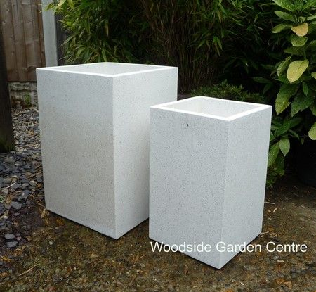 Large White Terrazzo Tall Square Pot Planters | Woodside Garden Centre |  Pots To Inspire